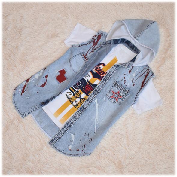 Футболка+жилетка джинсовая на мальчика размер 140 146