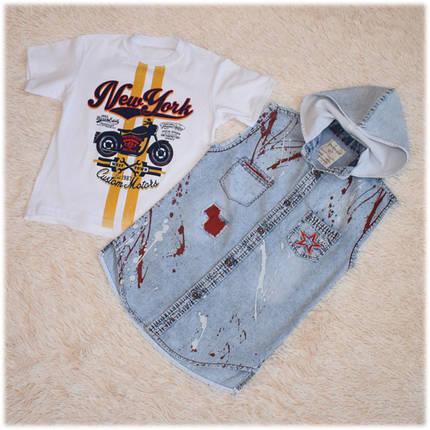 Футболка+жилетка джинсовая на мальчика размер 140 146, фото 2