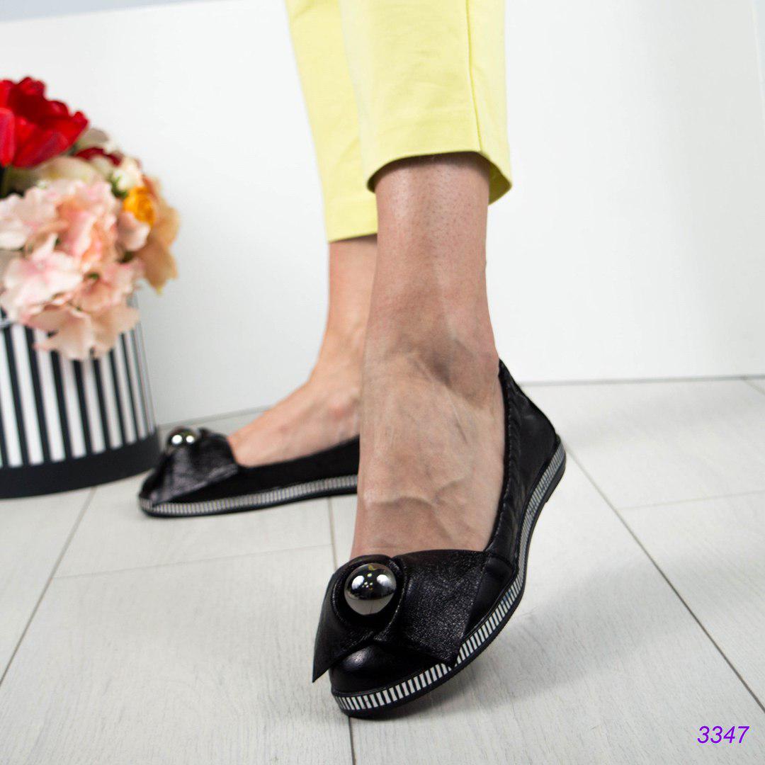 Баоетки женские с большой бусиной черные