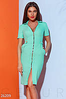 Стильное летнее платье на молнии миди по фигуре с коротким рукавом мятное