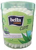 Ватные палочки с экстрактом алоэ, bella cotton (круглая, пластиковая упаковка), 100 шт.