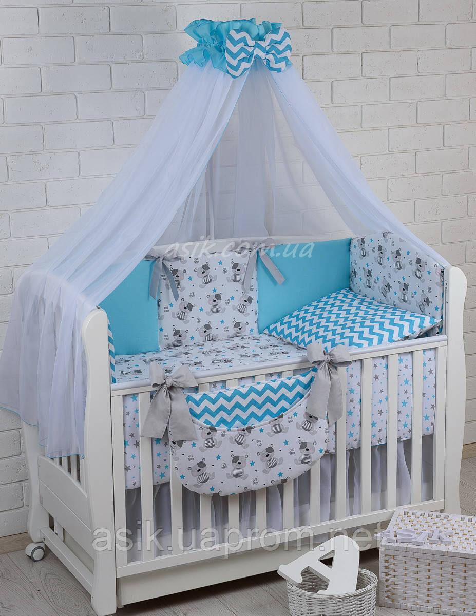 Комплект постельного белья Asik Мишка Тедди с голубым зигзагом 8 предметов (8-266)