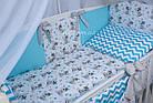 Комплект постельного белья Asik Мишка Тедди с голубым зигзагом 8 предметов (8-266), фото 2
