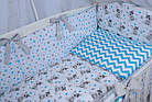 Комплект постельного белья Asik Мишка Тедди с голубым зигзагом 8 предметов (8-266), фото 6