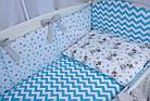 Комплект постельного белья Asik Мишка Тедди с голубым зигзагом 8 предметов (8-266), фото 4