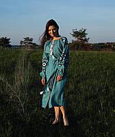 Вишите коротке лляне бірюзове плаття з машинною вишивкою 3d82d93cfa62a