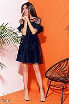 Пышное платье сетка мини с рюшами и поясом темно синее, фото 2