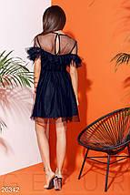 Пышное платье сетка мини с рюшами и поясом темно синее, фото 3