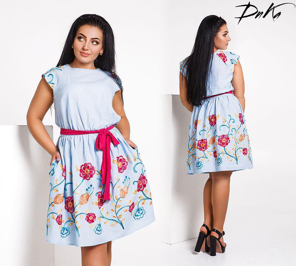 Батальное платье с вышивками