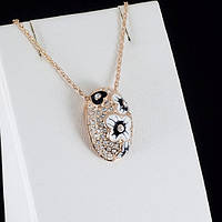 Расчудесный кулон с кристаллами Swarovski + цепочка, покрытые золотом 0812