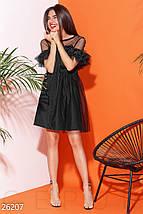 Вечернее платье фатин пышное короткое с коротким рукавом черное, фото 2