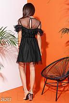 Вечернее платье фатин пышное короткое с коротким рукавом черное, фото 3