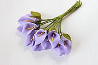 Декоративные цветы каллы мини 12 шт.  сиреневого (светло-фиолетового)  цвета на стебле, фото 1