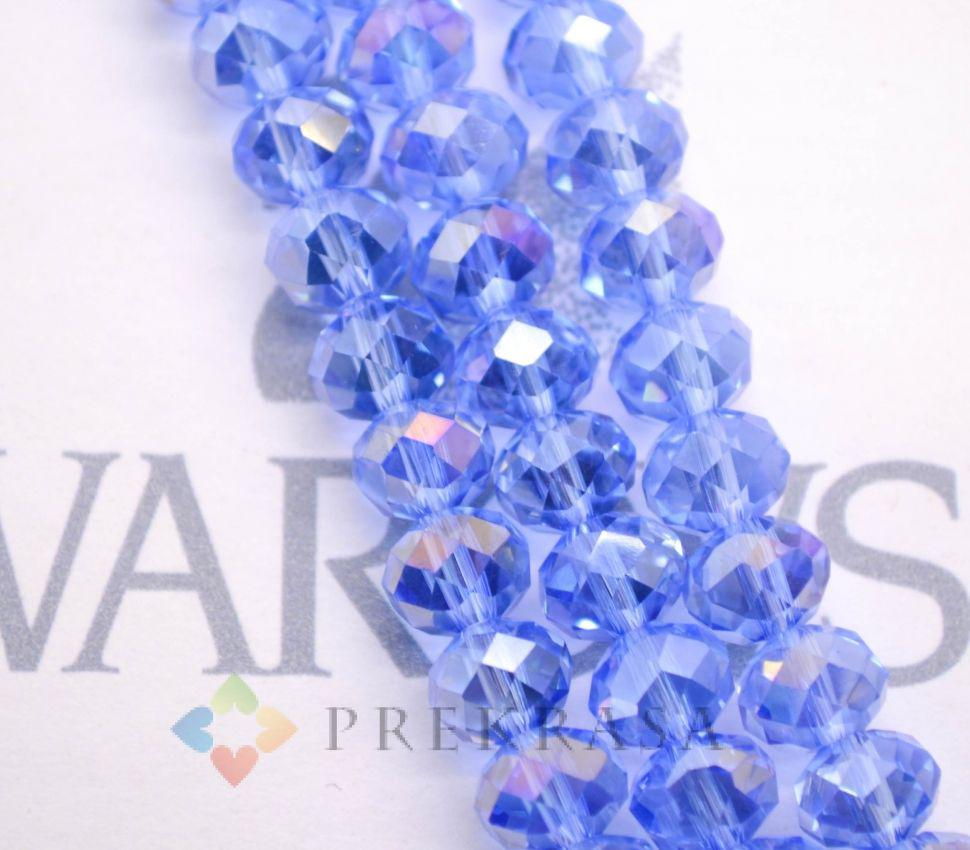 Низка бус огранка swarovski 8мм, длина 45 см, цвета на выбор (синий прозр.)