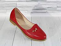 Стильные красные балетки. Натуральная кожа 1820