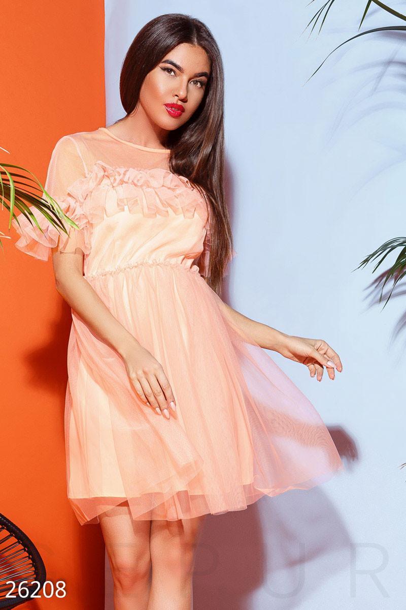 Нарядное платье мини с фатина юбка пышная короткий рукав пояс персик неон