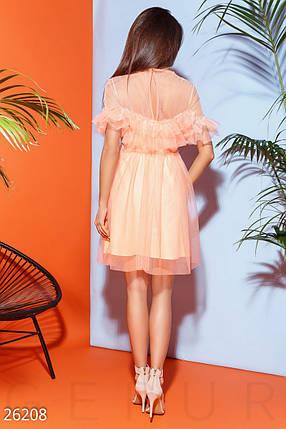 Нарядное платье мини с фатина юбка пышная короткий рукав пояс персик неон, фото 2