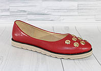 Стильные красные балетки. Натуральная кожа 1821, фото 1