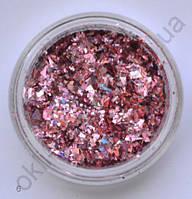 Голографические кусочки фольги #06 для дизайна ногтей (розовые)