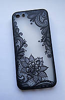 Чехол для Iphone 5 5s SE, черный узор цветы