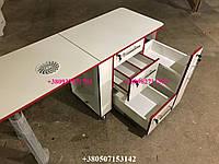 Маникюрный стол, стол с мощной вытяжкой, стол с потайной полкой для лаков. Модель V98/1 белый / красная кромка, фото 1