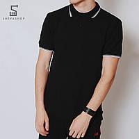 Поло мужское MS Black 18, чёрное, фото 1