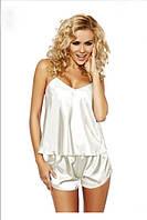 Атласный домашний комплект: шорты и майка, шелк, кремовый (48-50) XXL