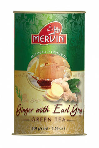 "Зелёный крупнолистовой чай ""Earl Grey with Ginger"" (бергамот+имбирь), Mervin, 100г, фото 2"