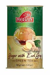 "Зелёный крупнолистовой чай ""Earl Grey with Ginger"" (бергамот+имбирь), Mervin, 100г"