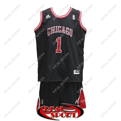 Баскетбольная форма НБА Чикаго Буллc, Деррик Роуз №1, черная
