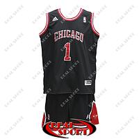 Баскетбольная форма НБА Чикаго Буллc, Деррик Роуз №1, черная, фото 1