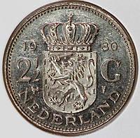 Монета Нидерландов  2,5  гульдена  1980 год