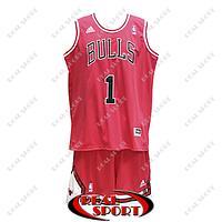 Баскетбольная форма НБА Чикаго Буллc, Деррик Роуз №1, красная, фото 1