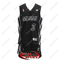 Баскетбольная форма НБА Майами Хит, Дуэйн Уэйд №3, черная, фото 1