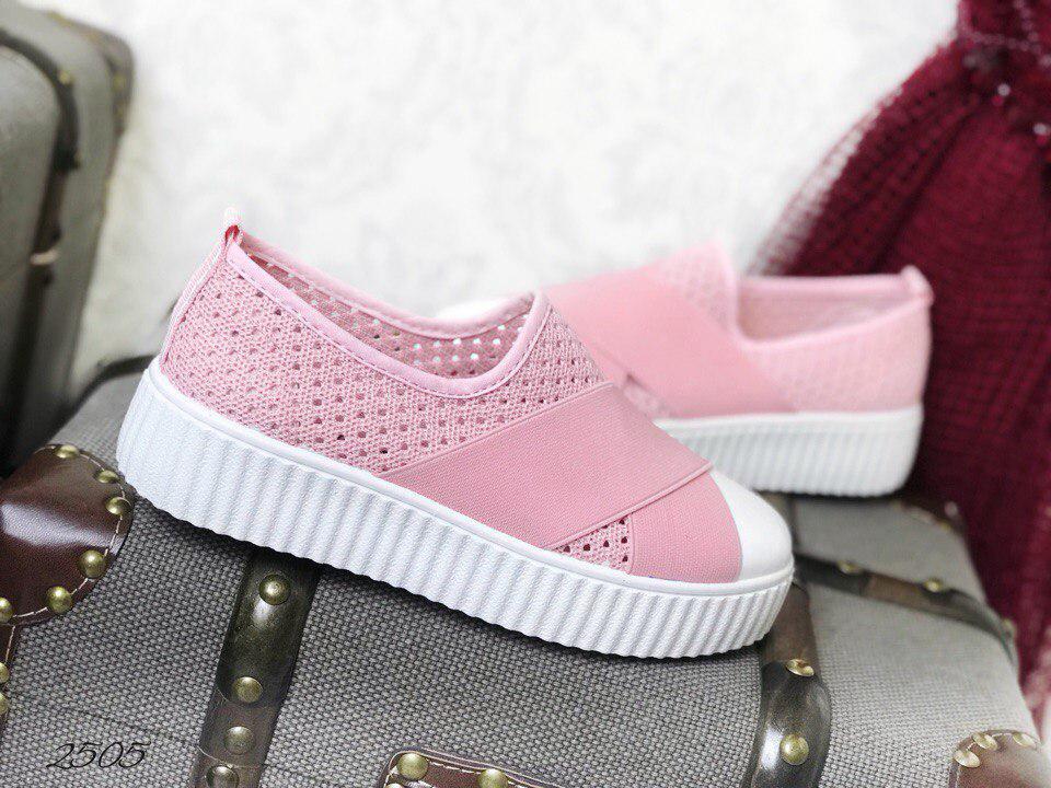 Розовые криперы перфорация текстиль 38,39 и 40 размеры