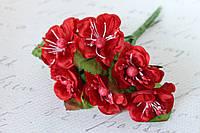 Декоративные цветы магнолии, диаметр 4 см, 6 шт/уп, красного цвета, фото 1
