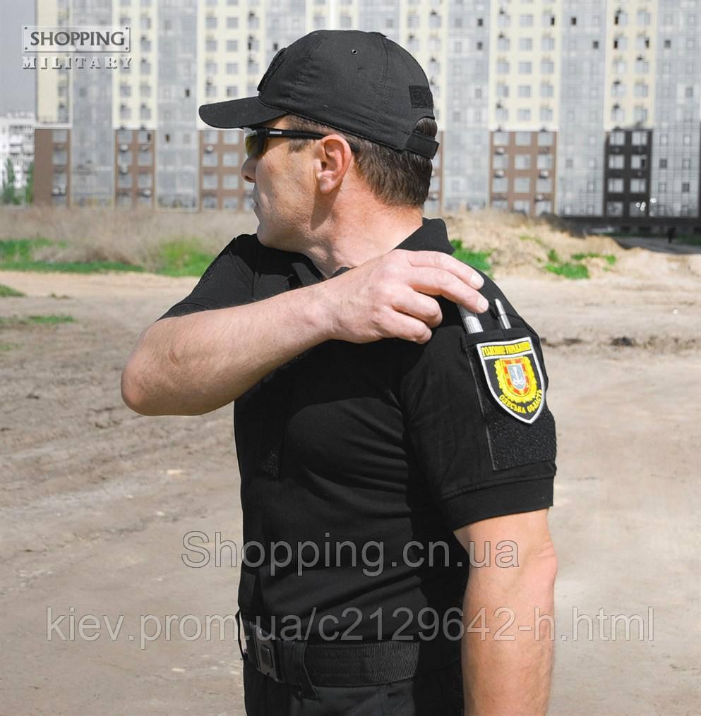 6881d43c92cb9 Футболка поло Полиции черная Velcro Tactical Хлопок купить по лучшей ...
