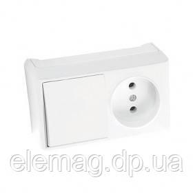 VIKO VERA Блок розетка+выключатель белый горизонт