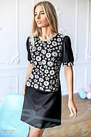 Модное платье свободного кроя мини с коротким рукавом цвет черно белый