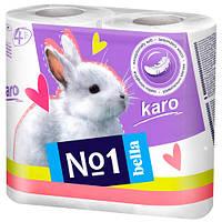 Бумага туалетная bella №1 karo (белая), 4 рулона в уп.