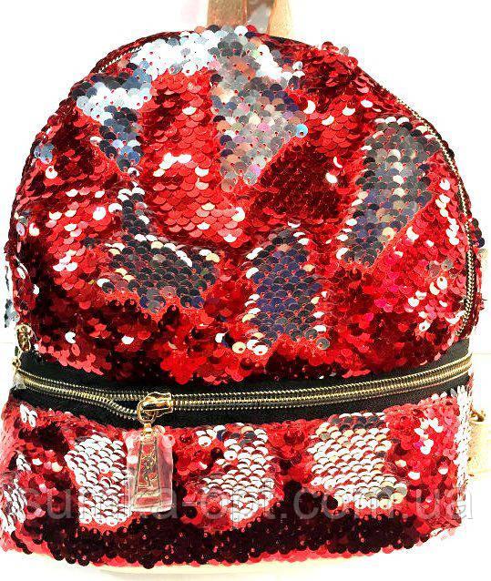 Рюкзаки с паетками и стразами 2хсторонний (красный)21*23