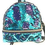 Рюкзаки з паєтками і стразами 2хсторонний (синій)21*23, фото 4