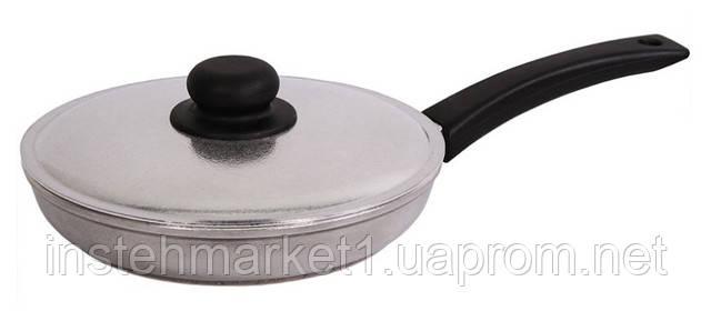 Сковорода алюминиевая с утолщённым дном БИОЛ Блеск 2204БК (220х95 мм) бакелитовая ручка и крышкав интернет-магазине
