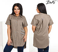 00fe09ca531 Удлиненная рубашка из льна с корткими рукавами реглан батал