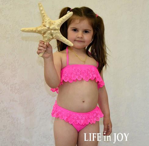 2558ea2ed06ab Детский раздельный купальник для девочки 8 лет розовый с перфорацией. -