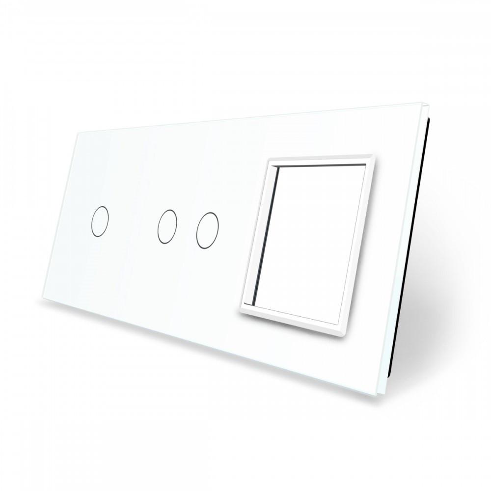 Лицевая панель для двух сенсорных выключателей и розеток Livolo, белый, стекло (VL-C7-C1/C2/SR-11), фото 1