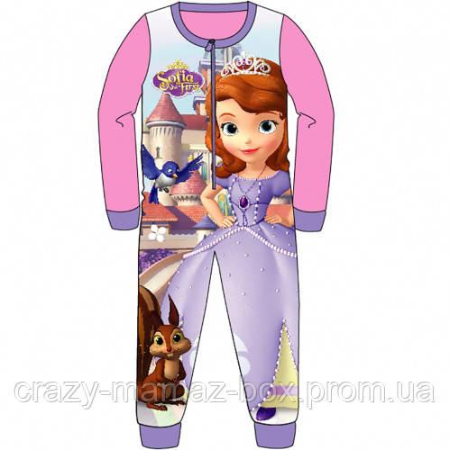 c595ec97f59e4 Пижама флисовая сдельная Принцесса София, теплый слип для девочки 2-6 лет -  Интернет