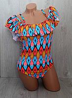 Модный слитный купальник бандо в этно стиле, мягкая чашка