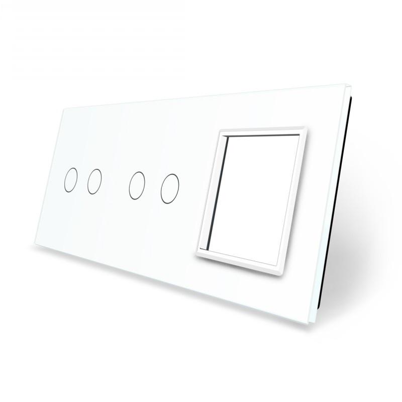 Лицевая панель для двух сенсорных выключателей и розеток Livolo, белый, стекло (VL-C7-C2/C2/SR-11), фото 1