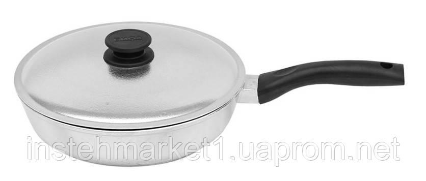 Сковорода БИОЛ 2007БК (диаметр 200 мм) алюминиевая с утолщённым дном, бакелитовая ручка и крышка